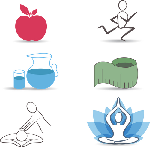 Icons representing the importance of diet, exercise, water intake, and chiropractic care