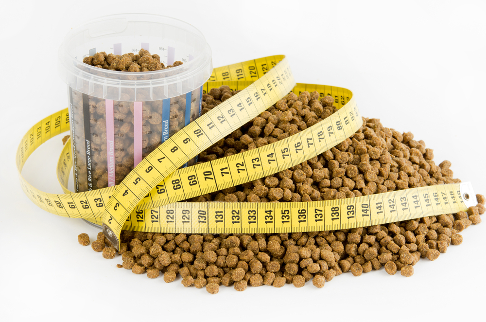 Pet food with measuring tape around it